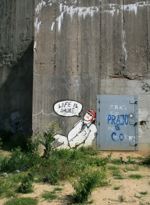 Graffiti at the flak tower, a relict of the second world war, at the Augarten in Vienna