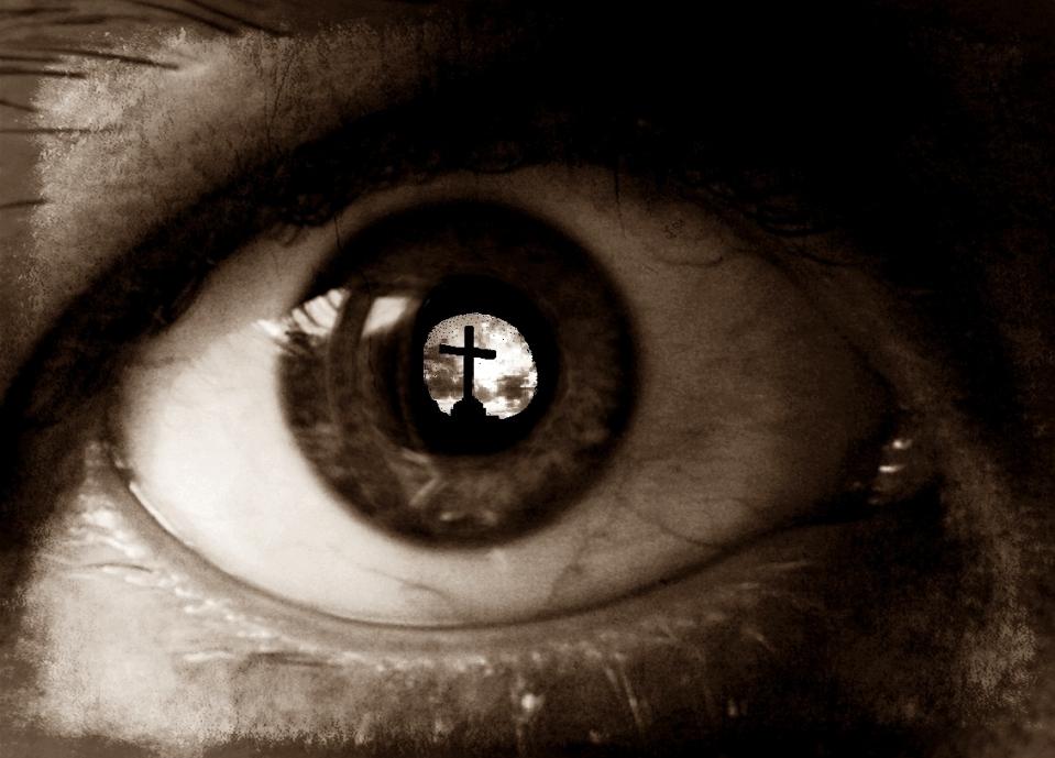 Sepia Eye Reflecting Cross